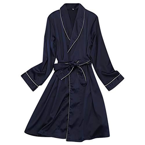 Yazidan Damen Satin Morgenmantel Kimono Lang Bademantel Schlafanzug Negligee Nachthemd Nachtwäsche Unterwäsche V Ausschnitt Mit Gürtel -
