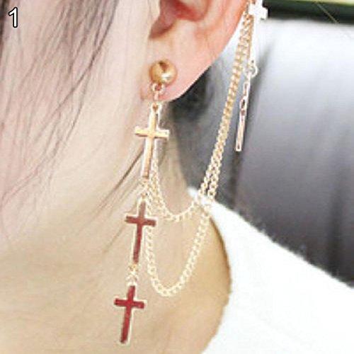 dontdo Gothic Punk Kreuz Quaste lang Kette Ear Cuff Ohrstecker Clip Ohrringe Halskette Girl Party Schmuck, goldfarben, 14 cm