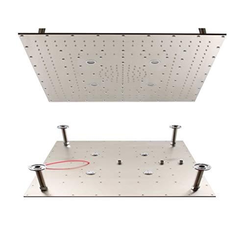 Düse Nur Deckenmontage (vanvilla LED Duschkopf Slim Design 80cm x 80cm Edelstahl gebürstet Regenbrause Regendusche 850S)