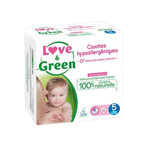 Jumbo Pack Couches jetables écologiques Love & Green Taille 5 JUNIOR 12-25kg, Multicolore, Taille unique
