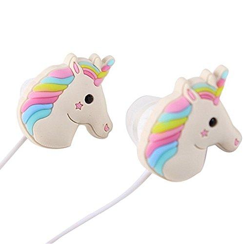 Galleria fotografica Qearfun in Ear Wired 3.5mm 3D cute Cartoon Animal Unicorn auricolare/auricolari/cuffie con microfono vivavoce per Apple, Samsung, HTC, Smartphone Android MP3