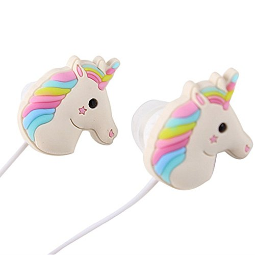 Qearfun in-Ear Wired 3,5 mm 3D Cute Cartoon Tier Einhorn Kopfhörer/Ohrstöpsel/Kopfhörer mit Mikrofon Freisprecheinrichtung für Apple, Samsung, HTC, Android Smartphones - Cd-player Cute
