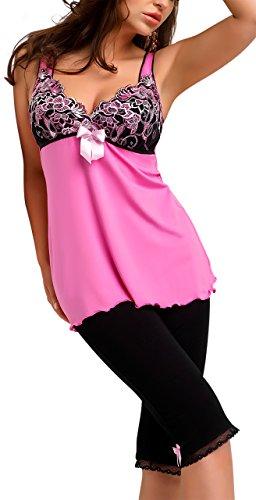 r-dessous hochwertige Damen Nachtwäsche Viskose Spitze Pyjama Schlafanzug Hausanzug Shirt + Capri Hose