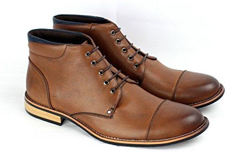 Hommes Bottes Cheville Décontractées Mode Motard Chaussures Café