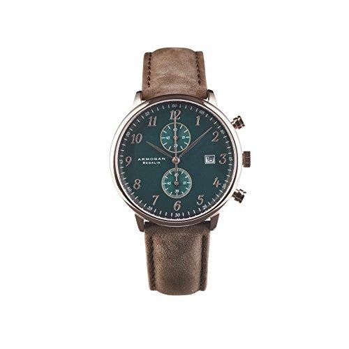armogan regalia - emerald green c53 - men's chronograph watch leather strap