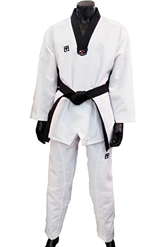 WTF Mooto Extera S5 uniforme de Taekwondo Kukkiwon Corea Dobok con tejido especial, color  - Black V-Neck, tamaño 180(170-180cm)