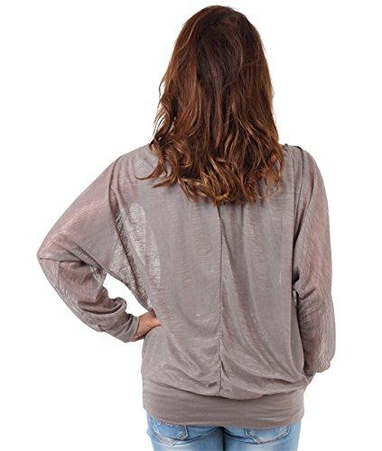 KRISP Damen 2in1 Oberteil Chiffon Top Elegante Bluse Mokka (7214)