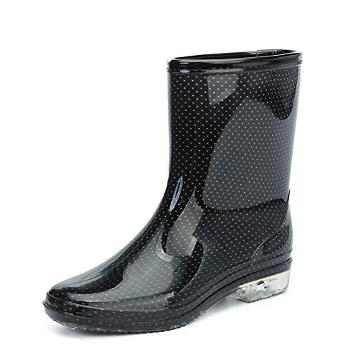 NgMik Outdoor Medium Tube PVC Regen Schuhe Maschine Wave Point Schuhe Damen Gummistiefel Gummischuhe wasserdicht Regenmantel-Regenstiefel im Freien (Farbe : Wavelet Point, Größe : 38 2/3 EU)