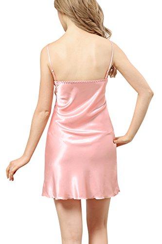 Dolamen Camicia da Notte Donna con Kimono Vestaglia Pigiama , 2-in-1 seta Pigiama Pigiami in Raso, Lusso & Sexy Fiore ricamo Chemise Camicia da notte, biancheria intima pigiameria Pink