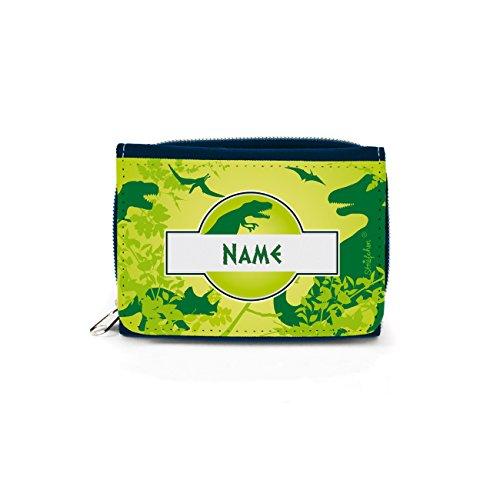Striefchen® Geldbörse für Kinder mit Dinosaurier und eigenem Namensaufdruck mit Geschenkverpackung (Kinder Geld Sicher)