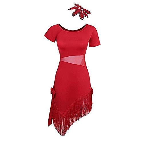 Frauen Latin Dance Dress Frauen latin dancewear kurzarm fransen quaste flapper dance kleider rhythm salsa tango ballroom dance kostüme praxis leistung tanzen dress ( Farbe : Rot , Größe : 2XL ) (Rote Fransen Dance Kostüm)