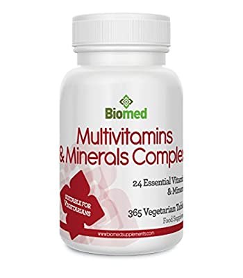 Multivitamins & Minerals Complex, 365 Vegetarian Tablets 1 Year Supply, 24 Essential Vitamins & Minerals Supplement by Biomed by Biomed