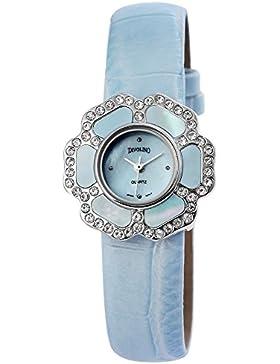 Tavolino Damen Analog Armbanduhr mit Quarzwerk 100323500182 und Metallgehäuse mit Kunstlederarmband in Blau und...
