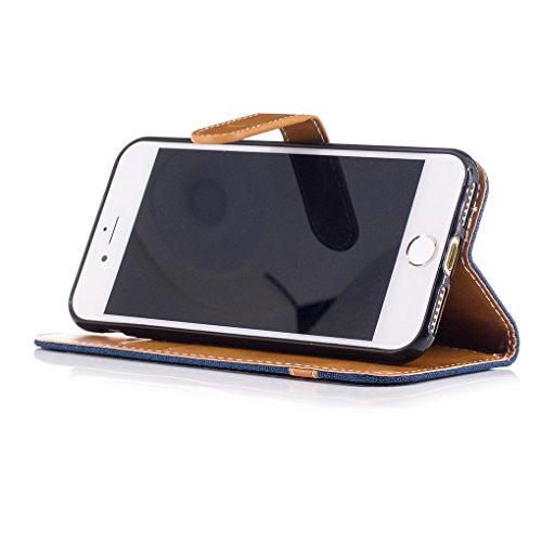 Apple iPhone 7 Hülle, SATURCASE Prämie Jeans Stil PU Lederhülle Ledertasche Magnetverschluss Flip Cover Brieftasche Case Handy Tasche Schutzhülle Handyhülle mit Standfunktion Kartenfächer und Handschl Marine