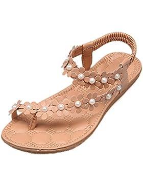 Sandalias para Mujer, RETUROM Sandalias Planas de Las Mujeres Bohemia Flower Beads Flip-Flop