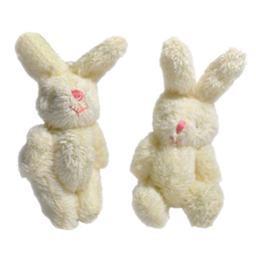 PUAK523Mini Cute Kaninchen Puppe Soft Plüsch Bunny Anhänger Schlüsselanhänger Kinder Puppe Phone Bag Spielzeug Zum Aufhängen DIY Ornaments Zubehör, weiß, Free Size