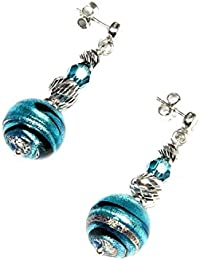 Earrings, woman pendants in 925 silver rhodium plated, Murano glass enhanced by a white gold leaf made in Florence and Swarovski cristals. OIR013-W01