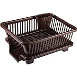 Raawan 3 in 1 Large Durable Plastic Kitchen Sink Dish Rack Drainer Drying Rack Washing Basket with Tray for Kitchen, Dish Rack Organizers, Utensils Tools Cutlery (Brown)