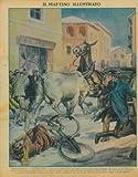 Tragicommedia a Montebelluna. Una mucca, imbizzaritasi per essere scivolata sulla neve, travolgeva una donna in bicicletta, un calesse tirato da un mulo e finiva nella vetrina di un negozio...
