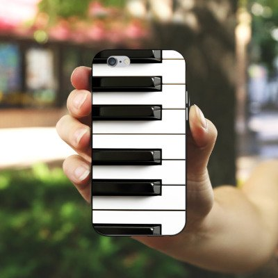 Apple iPhone SE Silikon Hülle Case Schutzhülle Piano Klavier Musik Silikon Case schwarz / weiß