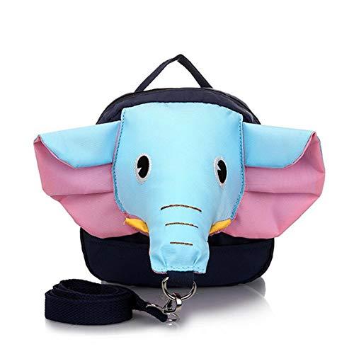 Niños niño de los niños del Bolso de Hombro Lindo Elefante Diseño Mochila de Seguridad Anti-Perdida con Correa de Seguridad (Nariz Azul y Rosa del oído)