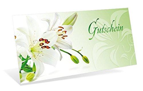 Gutscheinkarten (10 Stück) - Geschenkgutscheine für Blumenhandel, Floristik, Ostern - DIN lang Faltkarte verschließbar, blanko Vordruck zum Eintragen der Werte