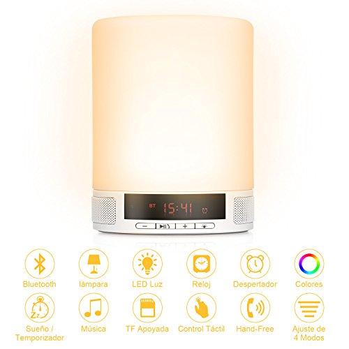 YISSVIC LED Altavoz Lámpara de Mesa con Sensores Táctiles y Pantalla Lámpara de Luz Nocturna Multifunción y Multicolor para Smartphones y Todos los Dispositivos Bluetooth