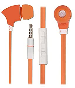 WITH VOLUME CONTROL In Ear Bud EARPHONES HANDSFREE HEADSET with Mic for Domo X3d X3g X14 with 3.5mm Jack-Orange