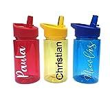 Regalazo.shop Botella Infantil Libre de BPA Personalizada con Nombre. 3 Colores: roja, Azul o Amarilla.