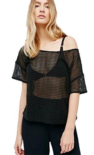 szivyshi Moda Trasparente Rete See Through Fishnet Net Boxy a Maniche Corte T-Shirt Maglietta Tee Top Nero Nero