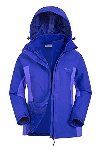 Mountain Warehouse Storm Wasserfeste 3-in-1-Jacke für Damen - Viele Taschen, abnehmbare Fleecejacke für Damen, Regenjacke - Ideal für den Winter Violett DE 42 (EU 44)