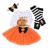 ALISIAM Neugeborenes Baby Strampler Bow Tutu Rock Beinwärmer Halloween Kostüm Outfits Set Kostüme Fasching Karneval Fastnacht