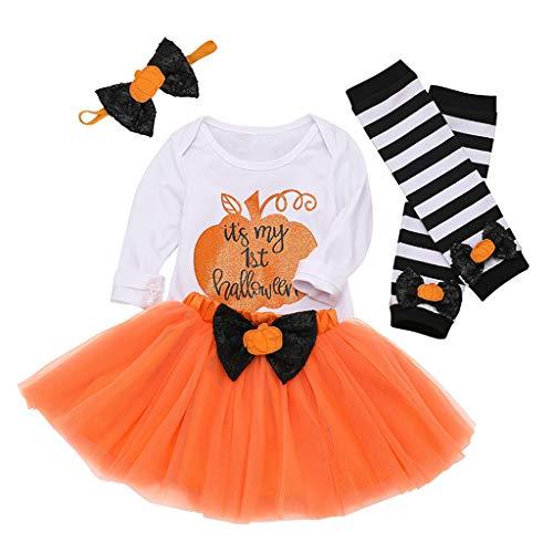 RYTEJFES Neugeborenes Baby Mädchen Bekleidungsset Outfits Kürbis Halloween Kostüm Kurzarm Strampler Overall mit Tütü Röckchen + Stirnband + Beinwärmer - Funny Teen Kostüm
