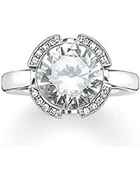 THOMAS SABO Women Ring TR1971-694-31 Eternity Ring 925 Sterling Silver Zirconia Pavé White, Milky Aquamarine Silver-coloured, Light Blue