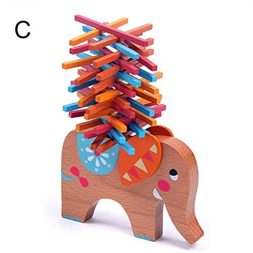 Sortim Juego Apilar Juego de Equilibrio de Colores Palos Apilables Elefante Camel Barra Apilables Bloques de Construcción Juego de Mesa Elefante Equilibrio Rompecabezas Madera Juguete para Niños
