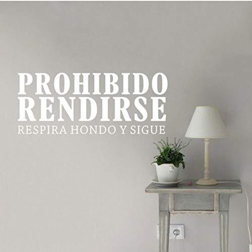 Zjxyz Citas Inspiradoras En Español Prohibido Rendirse Vinilo Adhesivos De Pared Dormitorio Oficina Motivación Palabras Letras S 57 * 23Cm