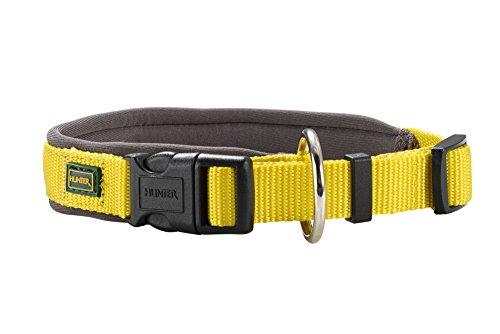 HUNTER Neopren Vario PlusHalsung, Halsband für Hunde, Nylon, mit Neopren gepolstert, 40/2,0, gelb/grau -