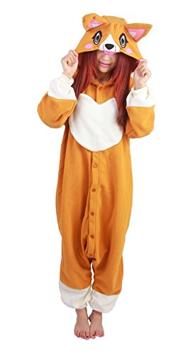 Honeystore Tier Onesies Karneval Halloween Hund Kostüm Nachtwäsche Cosplay Pyjama Erwachsene Unisex Jumpsuit (Kostüme Selbstgemacht Beste Superhelden)