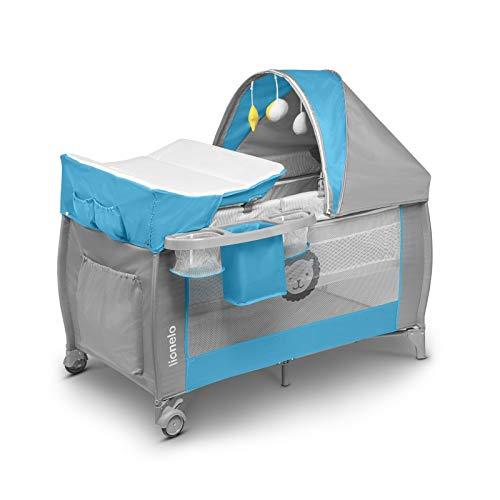 Lionelo Sven Plus 2in1 Reisebett Baby Laufstall Baby ab Geburt bis 15kg, Moskitonetz, Tragetasche, zusammenklappbar (Sky Blue)