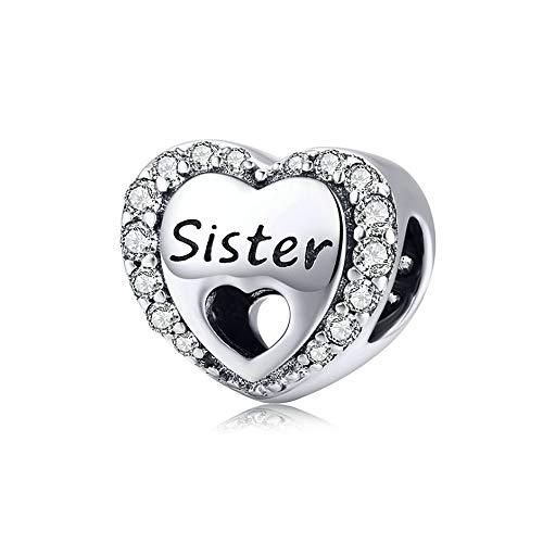 ANLW Charm Perlen S925 Sterling Silber Herzförmige Lose Perlen Sisters Dangle Fit Charm Armband, Muttertagsgeschenk (Pandora Perlen Schwester)