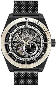 ساعة بمينا فضية وسوار شبكي ملون من هوغو بوس - 1513655