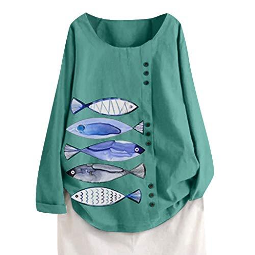 GOKOMO Frauen Print Langarm Rundhals T-Shirt Plus Size Frauen Langarm Baumwolle Leinen O-Ausschnitt Blumendruck Bluse Top T-Shirt(Grün-2,XXXX-Large)