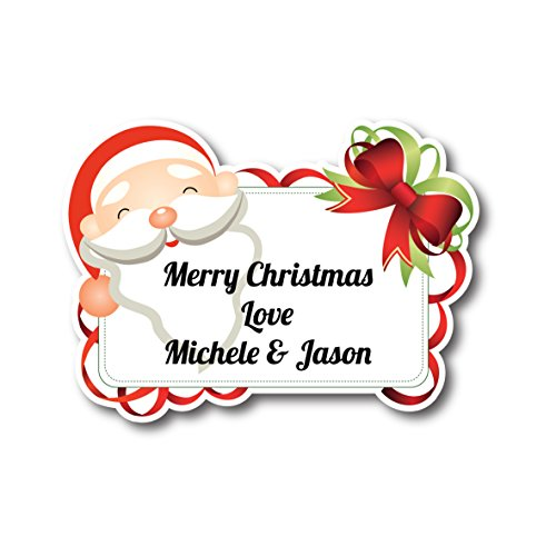 50 x 5cm personalised santa christmas tag stickers address labels wording of your choice