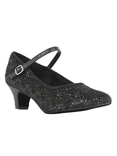 So Danca Latein Salsa Rumba Tango Tanz Schuhe BL 502 Chromledersohle, Absatz 4 cm Schwarz
