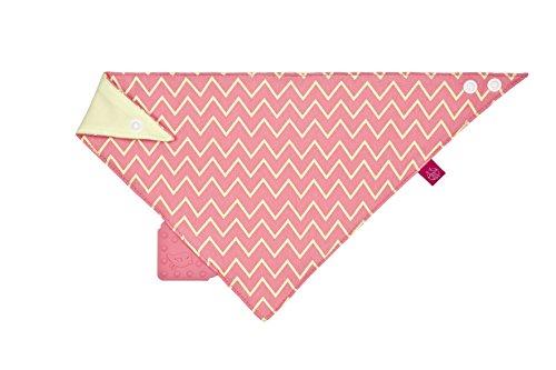 LÄSSIG Baby Bandana mit Beißhilfe Lätzchen Baumwolle Druckknopf saugfähig doppellagig beidseitig tragbar/Bandana, Zigzag, red