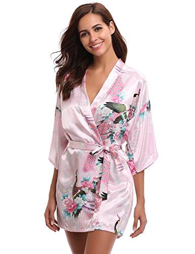Aibrou Damen Morgenmantel Satin Nachtwäsche Bademantel Kimono Negligee Seidenrobe Schlafanzug Kurz Mit Peacock und Blumen Rosa M (Damen Bademäntel Knie-länge)