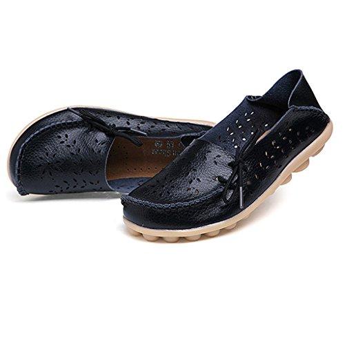 Oriskey Damen Mokassin Bootsschuhe Leder Loafers Schuhe Flache Fahren Halbschuhe Sandalen  36 EURot