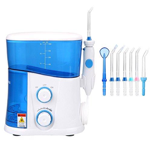 Aozzy Munddusche Dental flosser, Oral Irrigator UV-Desinfektionsmittel Mundpflege 10 einstellbar Düsen-1000ml Verfügbar für Familie