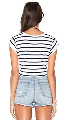Sexy Schnürung Vorne Taille Kurzarm T-Shirt Tee Kurze Crop Oberteil Top Schwarz Weiß Gestreift Gestreiftes Schwarz Weiß Gestreift