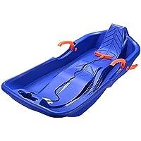 JFJL 88cm Durable Downhill Sprinter Toboggan Trineo de Nieve para niños Niños Chicas Adultos con Frenos y Cuerda de tracción,Blue